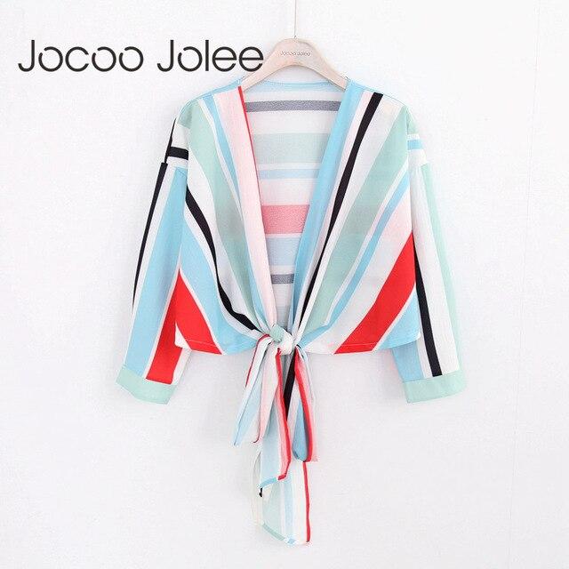 Jocoo Джоли Sexy Глубокий v-образным вырезом Для женщин красочный полосатый блузка на шнуровке Дизайн девять четверти 2018 новые летние Wearings