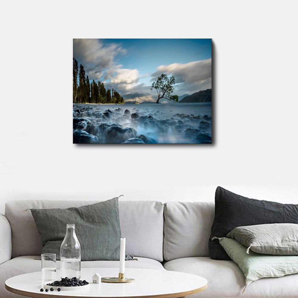 Laeacco Vintage Posters and Prints Natural Landscape Wall Artwork Picture Canvas Painting for Living Room Home Decor