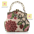 free shipping 2017 Female Retro Beaded Linen Clutches Bags Embroidery Lotus Flowers Wristlet Handmade Beads Dinner Bags YGH7124