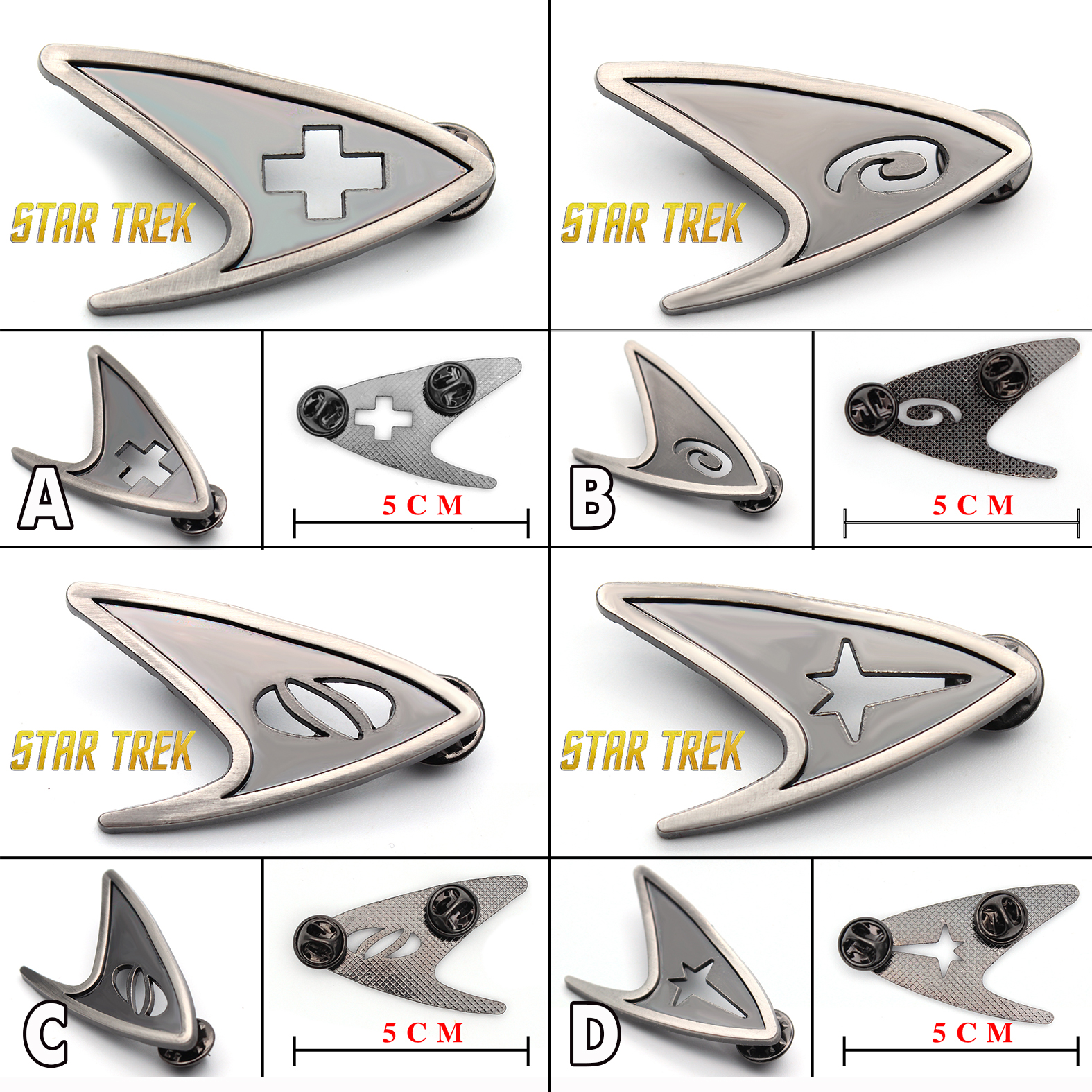Giancomics 4PCS Star Trek insignia Starfleet Metal Zinc Alloy Badge Pin Brooch Pin Chestpin Odd Shape Accessory Ornament Gift