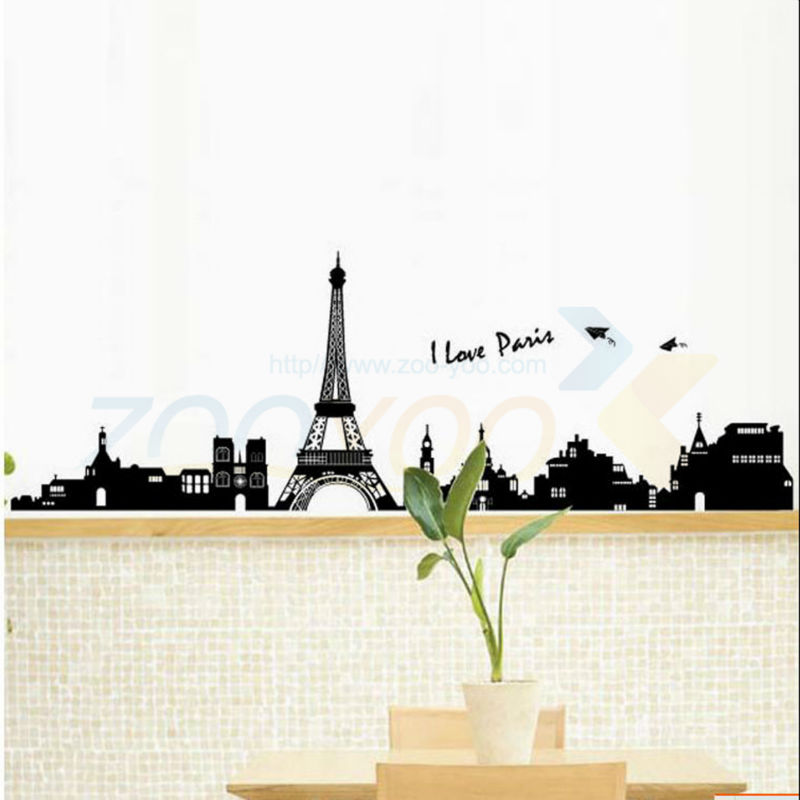 Eiffel Tower wall stickers bedrooms office home decoration diy vinyl wall decal mural arts wallpaper house decorative poster