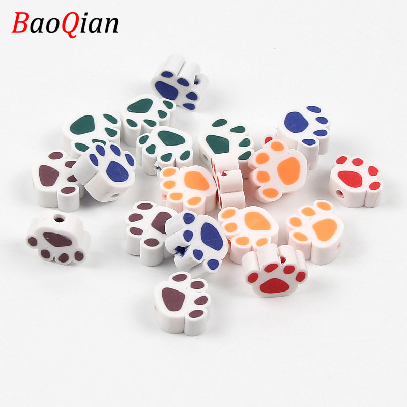 50pcs Cat Claw Beads DIY Multicolor Animal Polymer Clay Beads Making Children's Toys Jewelry Bracelet Accessories 12x14MM(China)