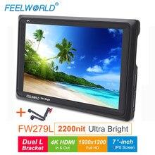 Câmera feelworld fw279l 2200nits 7 Polegada ips, câmera de monitoramento de área externa, 4k hdmi, 1920x1200, monitor lcd para câmeras dslr suporte