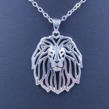 Ожерелье с подвеской в виде льва собаки животного посеребренное