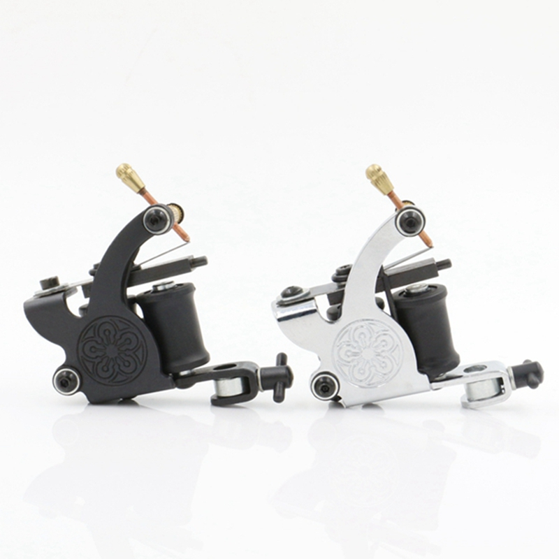 Coil Tattoo Machine New Arrival Tattoo Machines 10 Wrap Coils Tatoo Gun Black Steel Tattoo Frame  For Shader Free Shipping