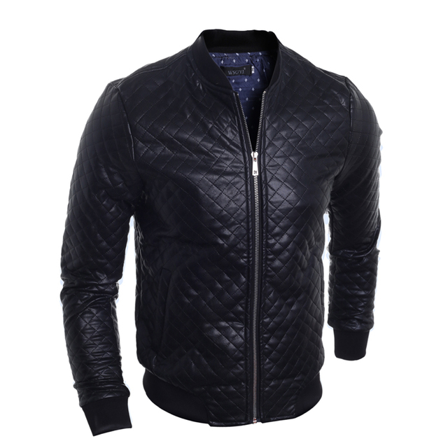 PU Leather Jacket Men Argyle Outerwear 2016 Autumn Slim Cardigan Jackets and Coats Bomber Quilted Black Jacket for Men 9104