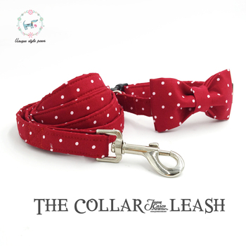 Unique Style Paws Red Dot Dog Collar with Bow tie and Leash Personal Custom Adjustable Pet Cotton Dog &Cat Necklace customized name phone dog collar leash rope christmas decoration pet necklace with bow tie walking dog straps adjustable buckles
