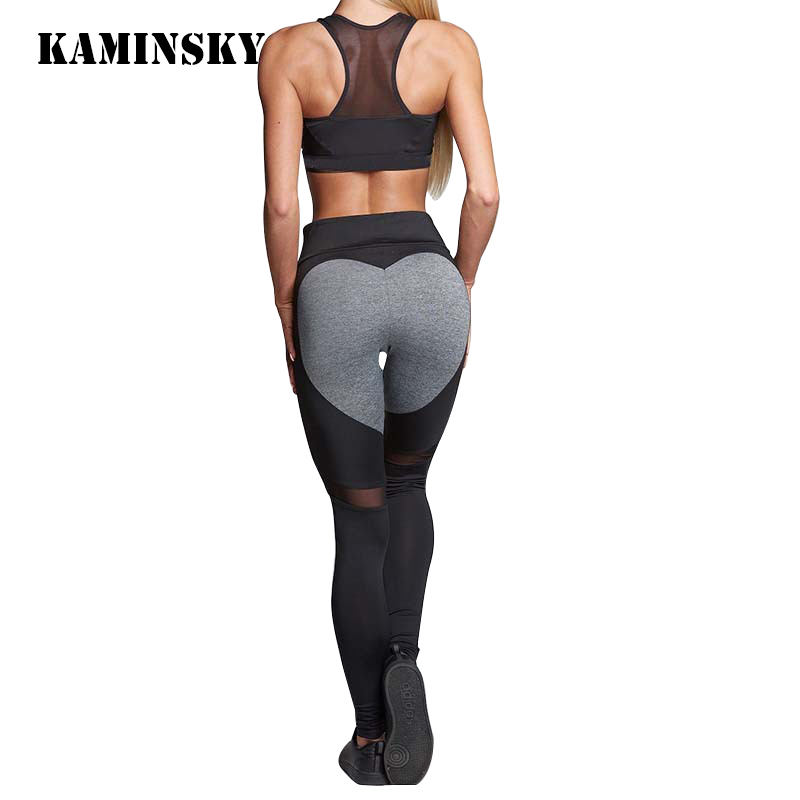 Kaminsky 2019 Women Fashion Gothic Push Up Ladies Mesh Pants Love Heart Black Leggings Casual Pants High Waist Sexy Leggings