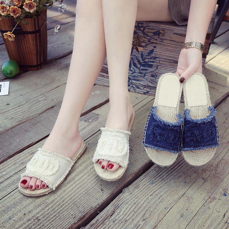 Phyanic Blue White New 2018 Slides Summer Style Shoes Denim Women Slippers Hemp Slip-on Casual Classics Flip Flops Flat Heel