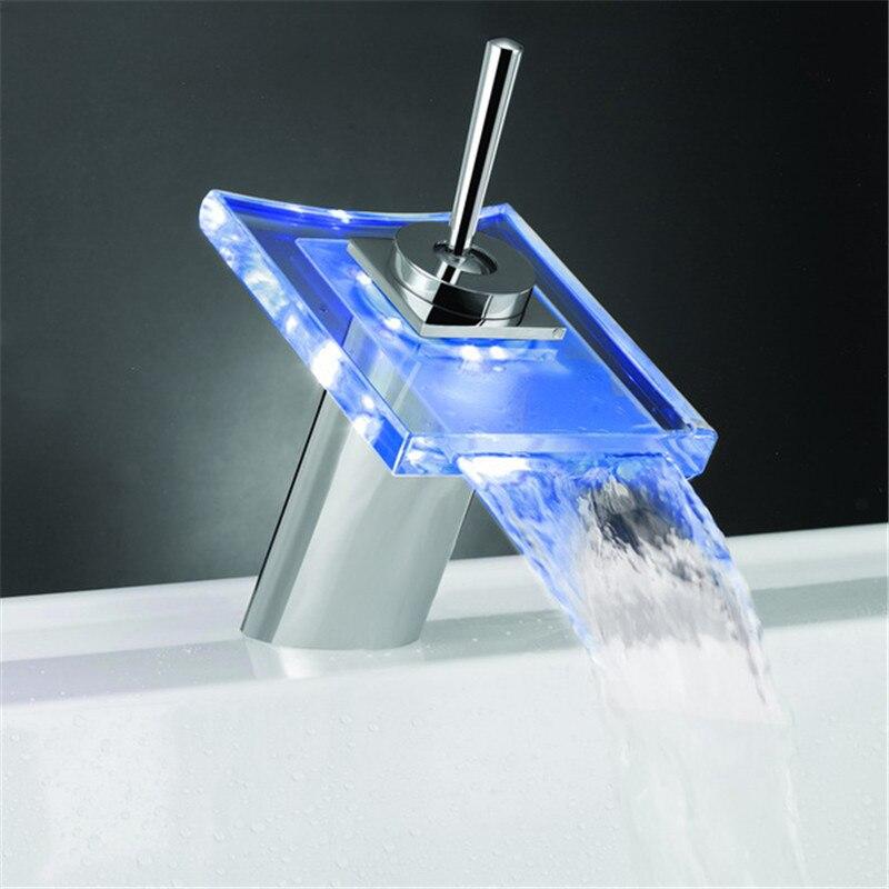 temperature sensor 3 colors illuminated led water tap LD8006-008B ld8006 006b rgb three colors temperature sensitive metal water tap
