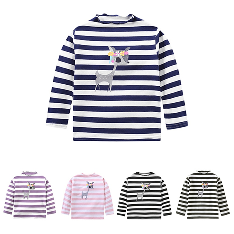 Autumn Baby Sweater Children\'s Long Sleeve Casual Striped Hoodies Cute Elk Girl Sweater Baby Girl Clothes 2018 new autumn winter baby girl sweater casual style girl cotton cardigan long sleeve o neck solid bow pattern children sweater