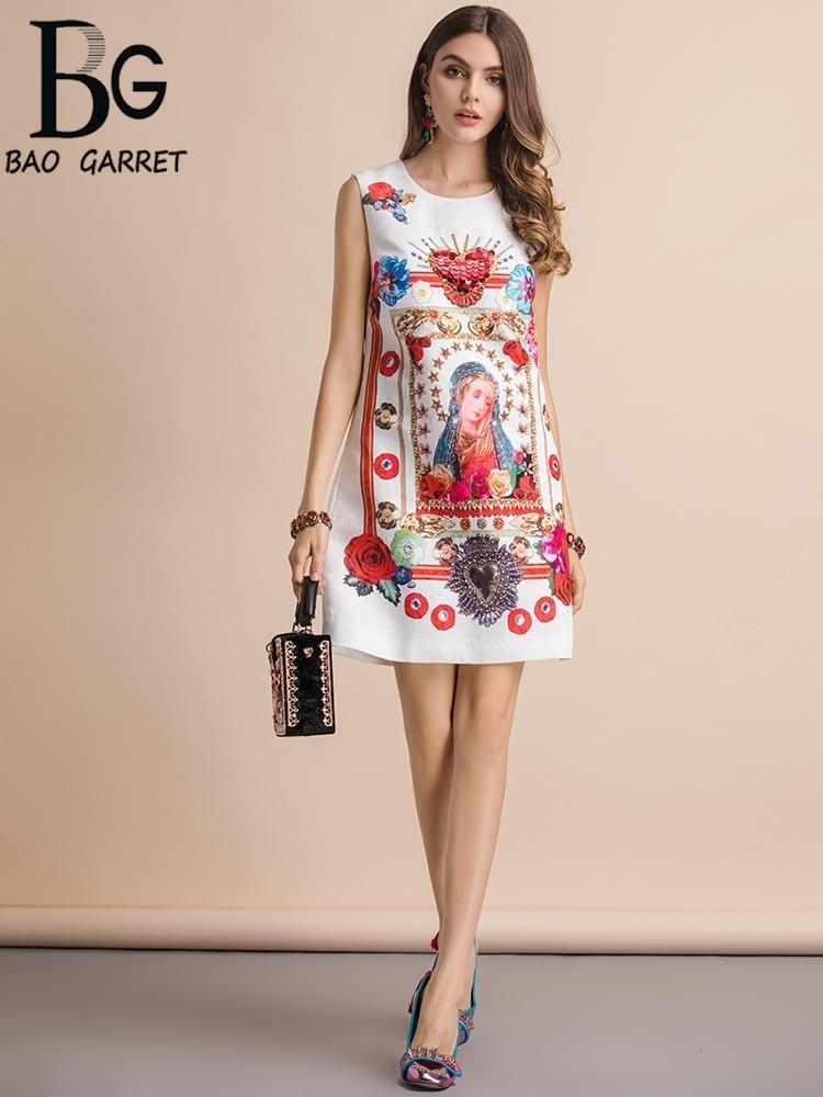 Baogarret New Fashion Runway Spring Summer Dress Womens Sleeveless Character Print Beading Sequined Elegant Loose Dresses