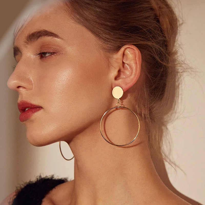 LOVBEAFS Simple Geometric Big Round Circle Earrings For Women Gold Sliver Color Fashion Hollow Drop Dangle Earrings Jewelry
