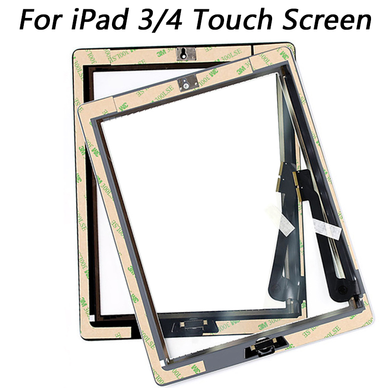 For Ipad 3 A1416 A1430 A1403 For IPad 4 A1458 A1459 A1460 Touch Screen Replacement  With Home Button Camera Holder Adhesive
