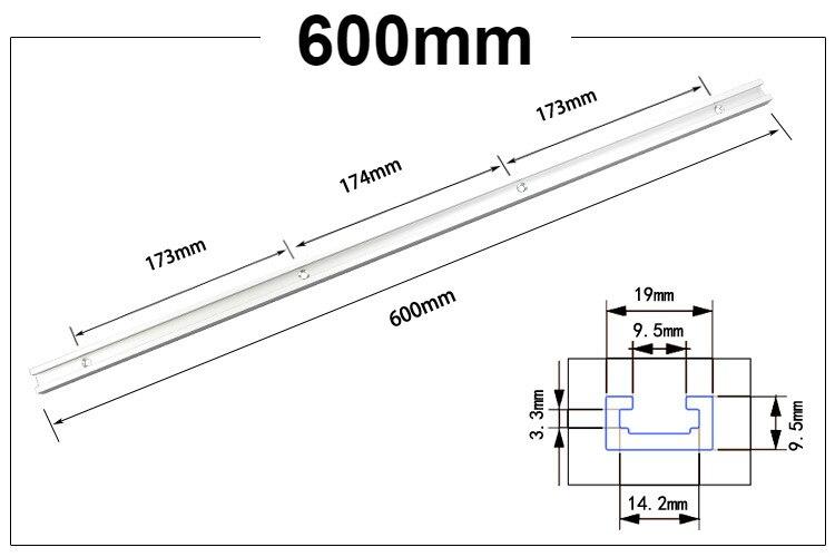 T-Nut Rail en T en aluminium pour le travail du bois 75 mm x 600 mm