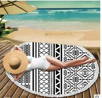 fashion microfiber beach towel round tassel yoga mat mandala geometric holiday mat lady
