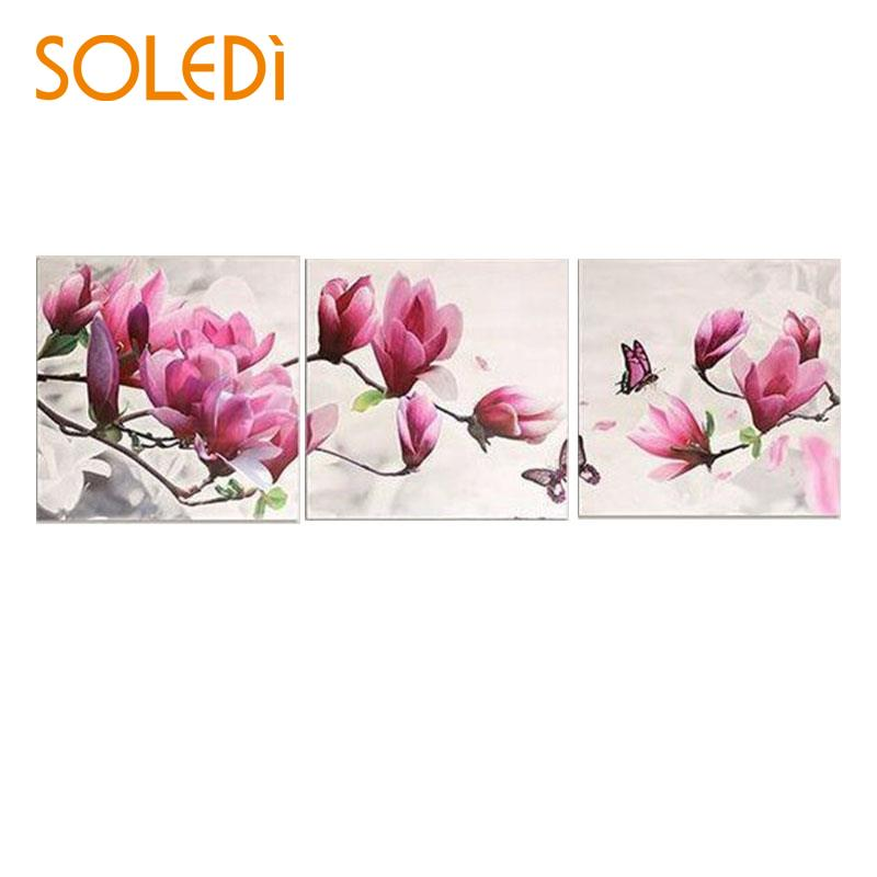 Nordic 3Pcs/Set Joint Canvas  Wall Hanging Floral Pictures NEW Paint By Number Gift Oil Painting DIY Gift Art Wall Hanging Paint