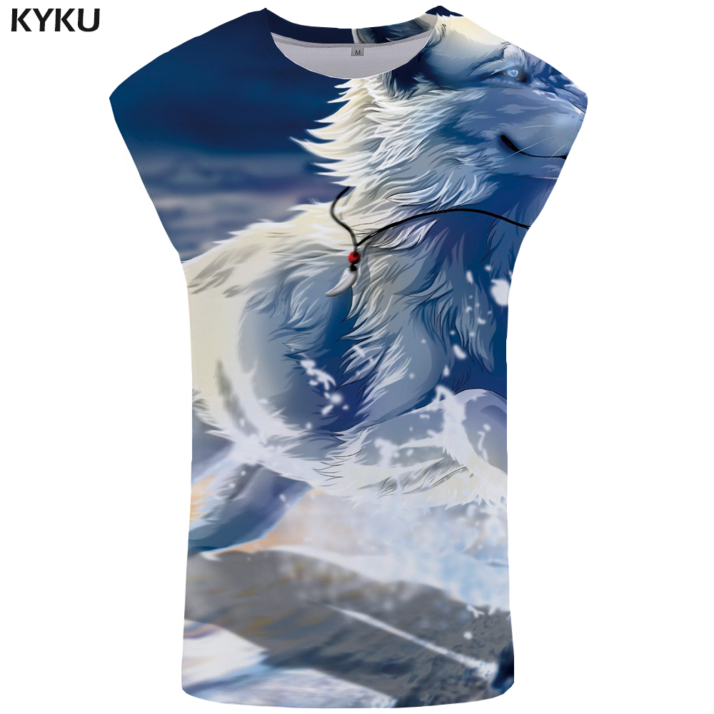 KYKU Brand Wolf   Tank     Top   Men Snow Vest Mens Bodybuilding Undershirt Stringer Gothic Clothing Animal Sleeveless Shirt Sky   Tops