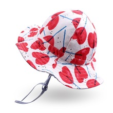 Summer Baby Girls Hat Reversible Heart Bucket Wide Brim Sun Caps For Toddler Kids Clothing