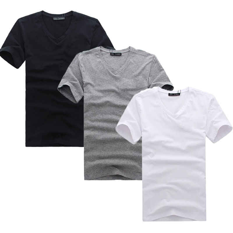 New Fashion Mans V-Neck Cotton Slim Fit T-shirt Tee Warna Solid Top M L XL XXL XXXL Pakaian Bergaya mens Slim Tops t-shirt