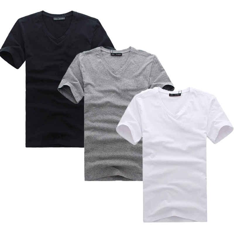 Nieuwe Mode Mans V-hals Katoen Slim Fit T-shirt Effen Kleur Tees Top Ml XL XXL XXXL Kleding Stijlvolle heren Slim Tops T-Shirts