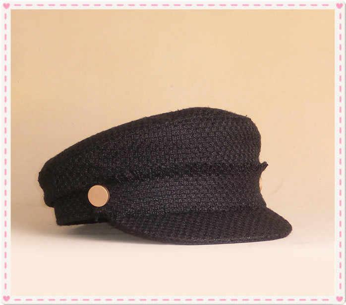 Модный бренд Берет шерстяной темно-Кепки плоской вершиной военной Hat для мальчиков и девочек армии, Черный берет в стиле милитари для Для женщин