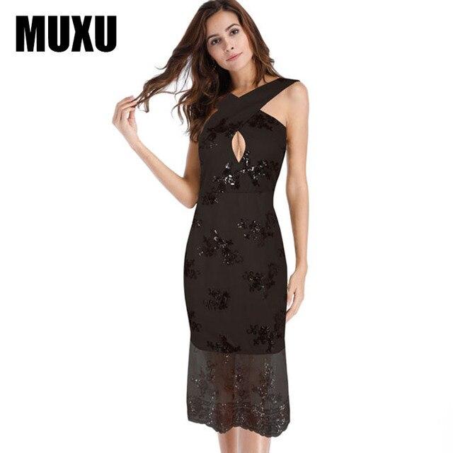MUXU fashion dresses summer sleeveless womens clothing party suspender gold sequin  dress glitter moda feminina backless bc9e0ff15731