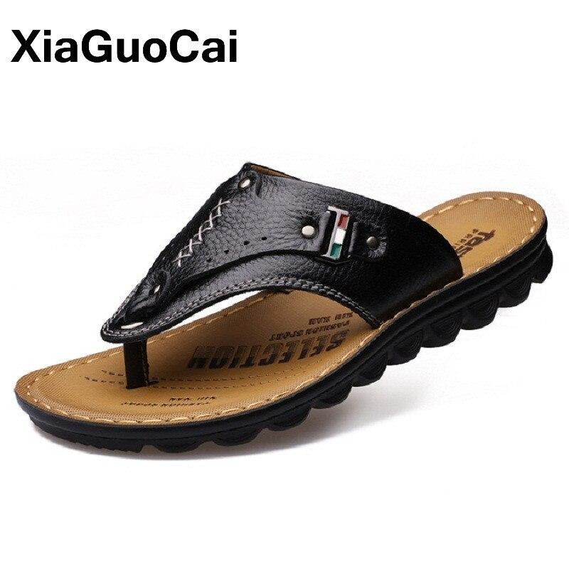 f5ba6c5b30 2018 Homens de Verão Chinelos Respirável Clássico Casual Flip Flops Thongs  Mulas de Couro Genuíno Sandálias de Praia Sapatos Masculinos