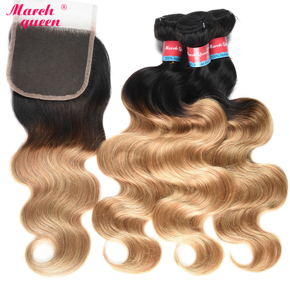 March Queen Ombre Body Wave Human Hair Bundles With Closure T1B 27 Indian Hair Weave 3