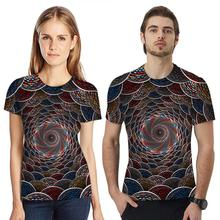 Yfashion Unisex Couple T-Shirt Men Women 3D Colorful Digital Printing O Neck Short Sleeve T Shirts for Couples