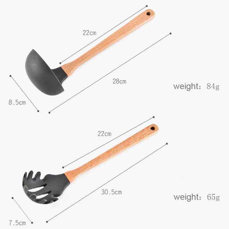 8 шт. набор деревянная силиконовая лопатка термостойкая суповая ложка ПОСУДА антипригарная специальная кухонная лопатка кухонные инструменты для приготовления пищи