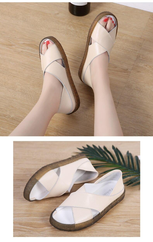 Peipah 16 estilo couro genuíno verão sandálias