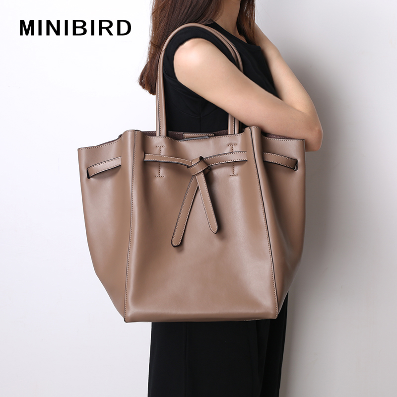 Women Bag Shoulder Bag Lady Casual Tote Shopping Bag High Capacity Quality Split Leather Tie Knot