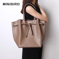Women Bag Shoulder Bag Lady Casual Tote Shopping Bag High Capacity Quality Split Leather Tie Knot Design Luxury Handbag