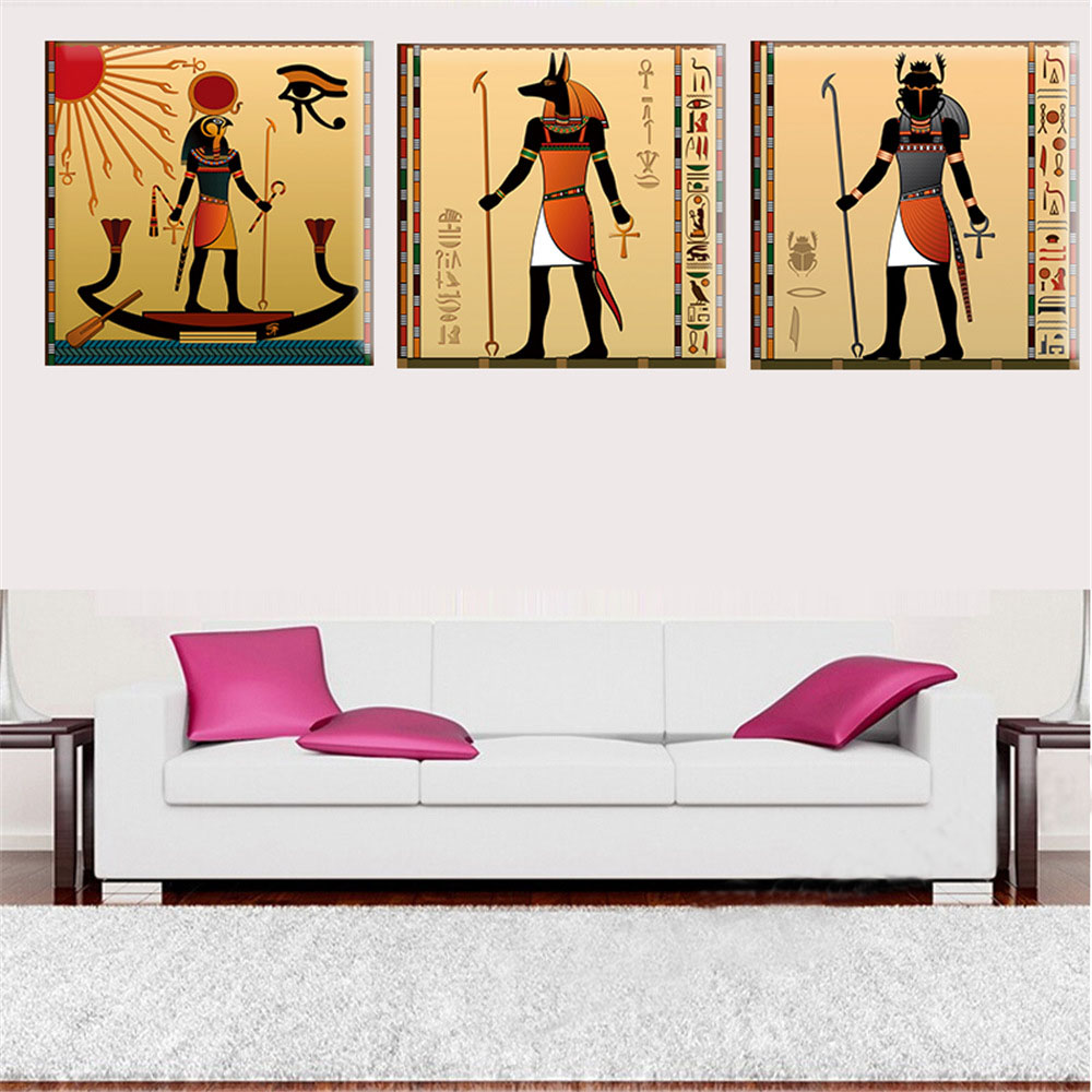 3 Panels Egyptian Decor Canvas Art Modern Abstract Painting Wall ...
