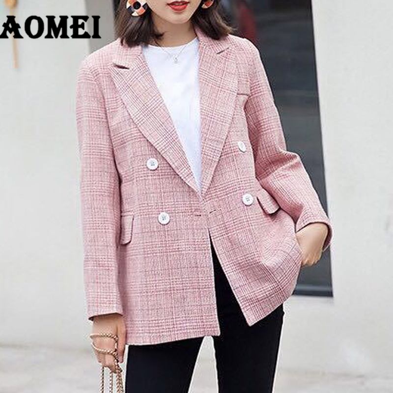 Female Jackets Plaid Blazer Outcoat Wear to Work Tops Clothing Fall Women Double Buttons Blasers Autumn