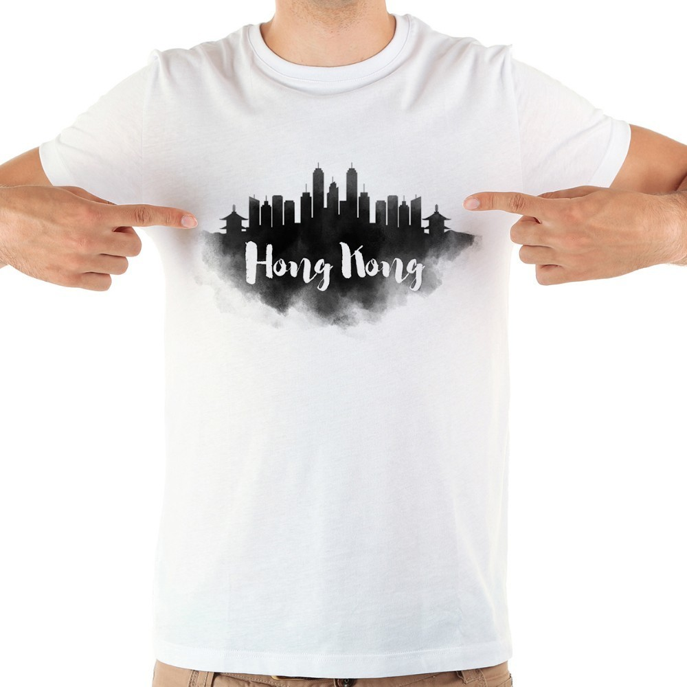 China beijing <font><b>hong</b></font> <font><b>kong</b></font> Taipei city landmark watercolor funny <font><b>tshirt</b></font> men new white short sleeve casual homme cool t shirt image