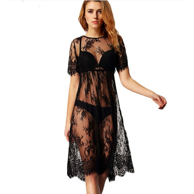 d5eac94205 Special Offers Solid lace cover ups sexy mesh swimsuit cover up short  sleeve beach dress lace