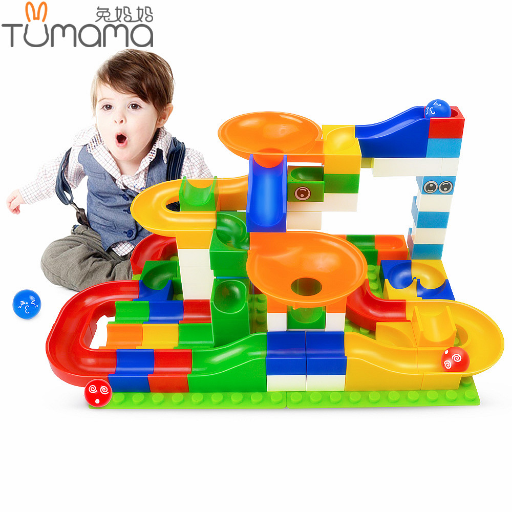 Tumama 104PCS Marble Race Run Maze Balls Slide Track Building Blocks Compatible Legoed Duploe Animals Figures DIY Toys For Kids цены онлайн