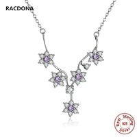 NEW 925 Sterling Silver Flowers Purple Crystal Love Pendant Necklaces With Zircon Charm Necklace For Women