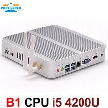 Причастником B2 Безвентиляторный Barebone i5 Мини-ПК Win10 3 года гарантии NUC компьютер Intel Core i5 4200U 4 К HTPC ТВ коробка DHL Бесплатная доставка