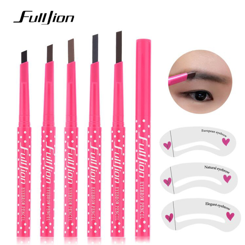 Fulljion Eyebrow Pencil Waterproof Durable Enhancer Tattoo Pen with Stencils Eye Brow Liner Makeup Tools 5 Colors