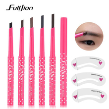 Fulljion Eyebrow Pencil Waterproof Durable Eyebrow Enhancer Tattoo Pen with Stencils Eye Brow Liner Pen Makeup Tools 5 Colors цена