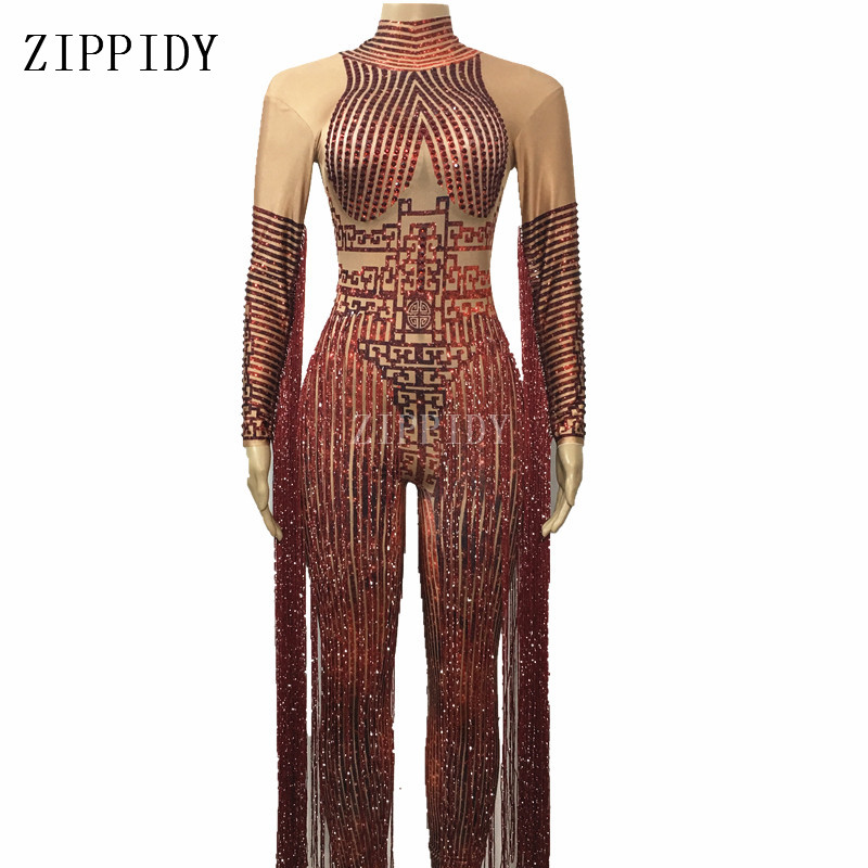 Sparkly red Rhinestones   Jumpsuit   Female Singer Stage Wear Long Tassel Bodysuit One-piece Costume Glisten Stones Stretch Outfit