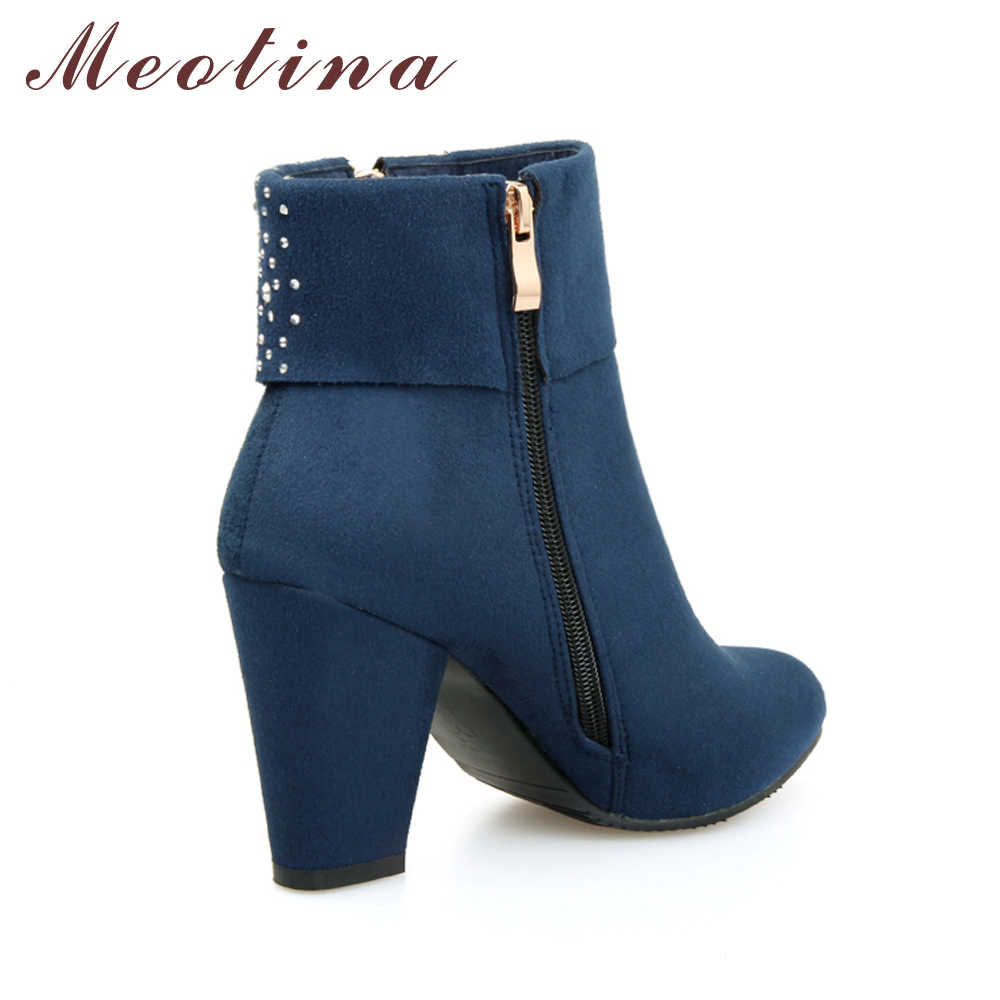Женские ботинки с кристаллами Meotina, осенне-зимние полусапоги на толстом каблуке, синего, красного цветов, большие размеры до 43