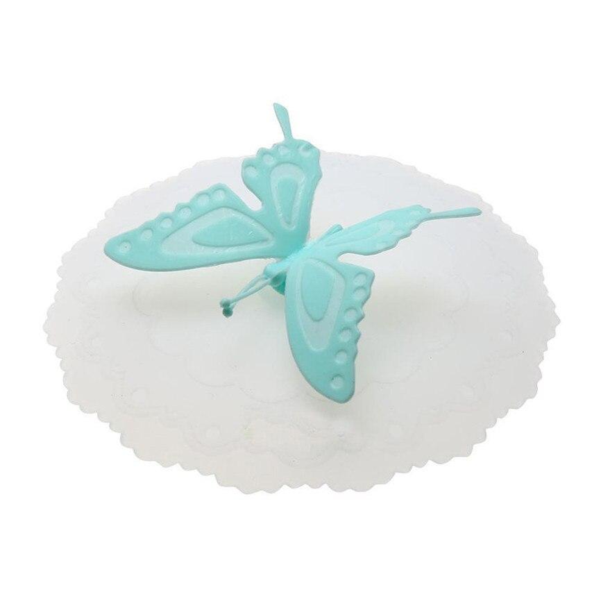 Новинка года качество красочными бабочками и бантиками; герметичная, силиконовая Кофе крышка всасывания Кепки герметичное уплотнение крышка для стакана из дропшиппинг 0935 - Цвет: Blue