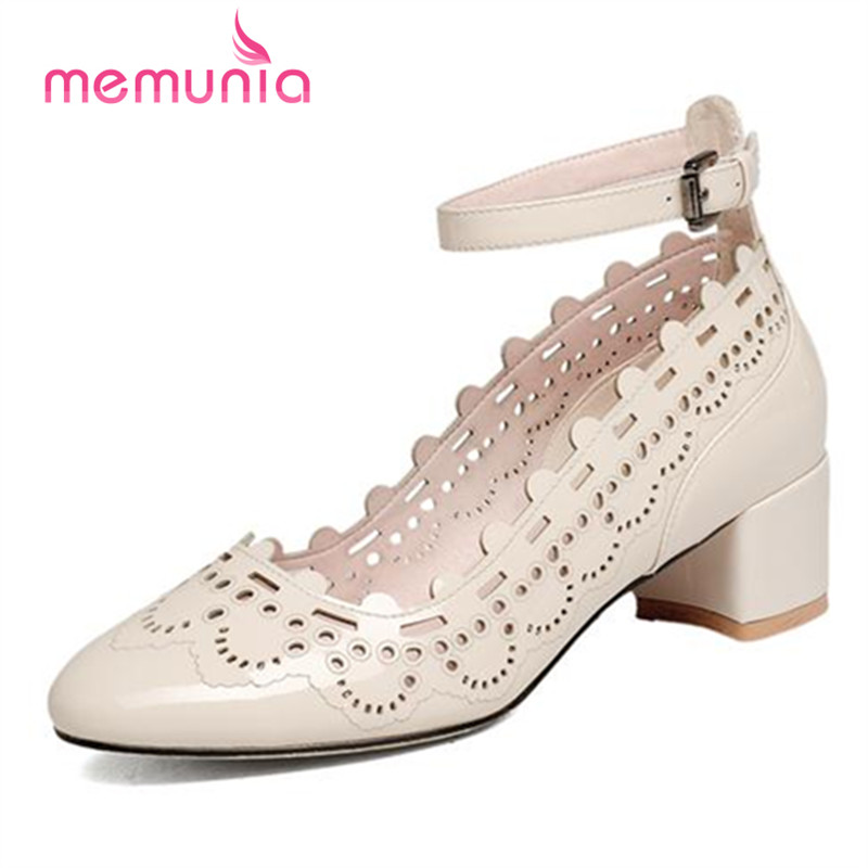 ФОТО MEMUNIA Round toe shallow single shoes party buckle solid high heels shoes 4.5cm lnside genuine leather women pumps restoring