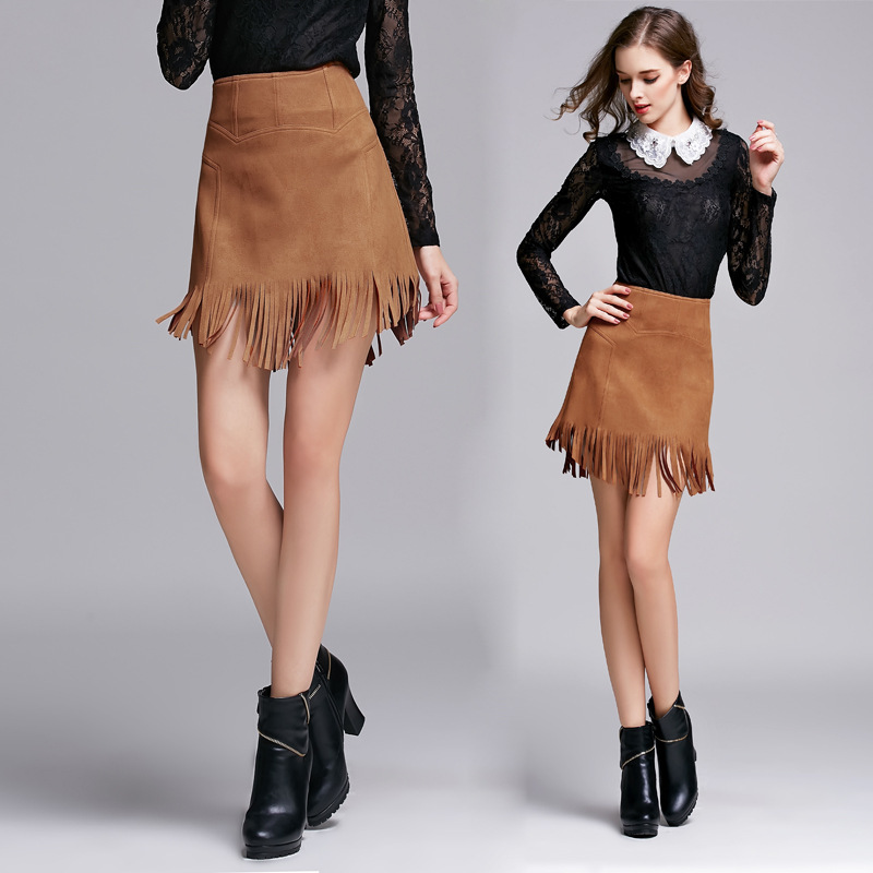 Online Shop Brown Midi Suede Skirt Woman Fringed A Line High Waist ...