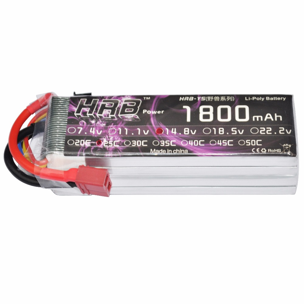 HRB RC Lipo Battery 4S 14.8V 1800mah 25C MAX 50C Drone AKKU Bateria For Helicopter QuadCopter Airplane Car Boat UAV FPV gdszhs rechargeable 3s lipo battery 11 1v 2200mah 25c 30c for fpv rc helicopter car boat drone quadcopter page 1