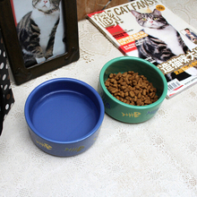 все цены на Fashion Ceramic Pet Feeding Bowl Food Water Dish for Cat Dog Puppies Cartoon Printed Pet Cat Dog Feeder Single Cat Bowl онлайн
